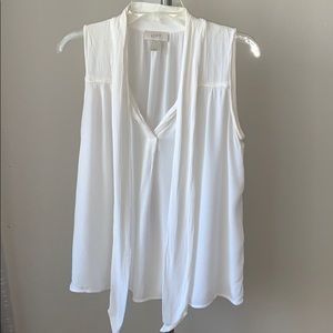 White blouse with collar ties